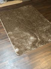 ROMANY WASHABLE 120x160CM X LARGE SIZE SPARKLY SINGLE MAT DARK BEIGE GEL BACK